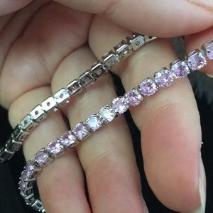 18Kt White Gold Plated Pink Sapphire bracelet